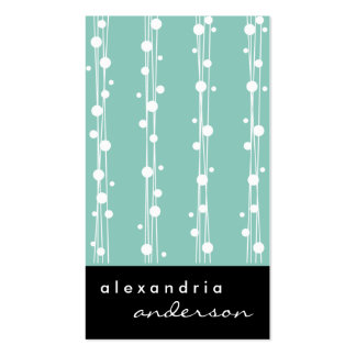 Aqua Blue Dots and Straw Business Cards