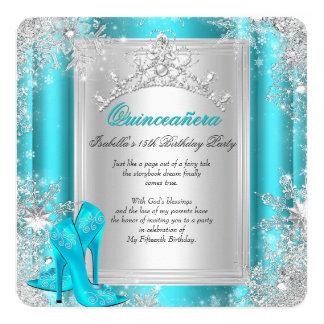 Aqua de Teal du pays des merveilles d'hiver de Carton D'invitation 13,33 Cm