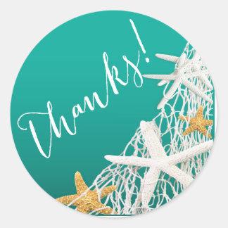 Aqua du Merci | de mariage de plage de fabrication Adhésif Rond