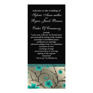 aqua en ivoire et programme floral noir de mariage
