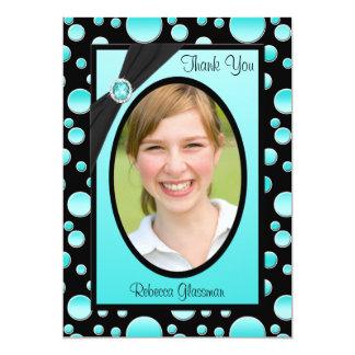 Aqua et carte de remerciements noir de photo de carton d'invitation  12,7 cm x 17,78 cm