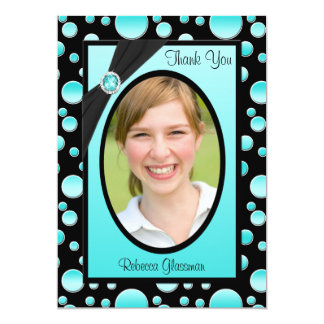 Aqua et carte de remerciements noir de photo de invitations personnalisées