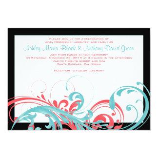 Aqua et faire-part de mariage floral de corail carton d'invitation  12,7 cm x 17,78 cm