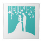 Aqua et silhouettes blanches de mariage de jeunes  carreau en céramique