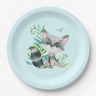 Aqua lunatique de raton laveur de région boisée assiettes en papier