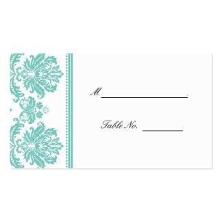 Aqua mariage damassé posant Placecards Carte De Visite Standard