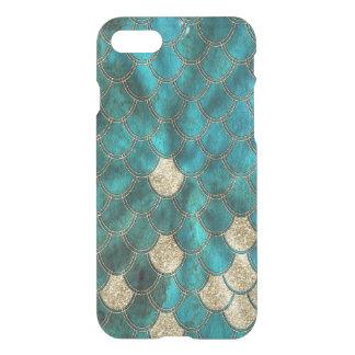 Aqua Mermaidscales vert avec le scintillement d'or Coque iPhone 7