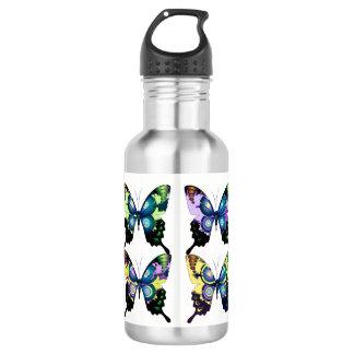 Aqua, rose, et jaune - papillons élégants bouteille d'eau en acier inoxydable