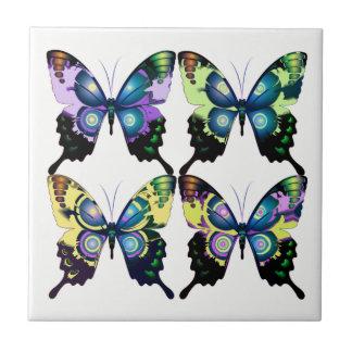 Aqua, rose, et jaune - papillons élégants carreau