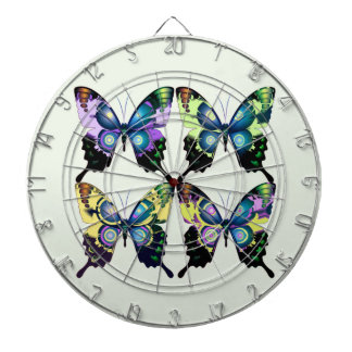 Aqua, rose, et jaune - papillons élégants cible de fléchettes