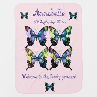 Aqua, rose, et jaune - papillons élégants couvertures de bébé