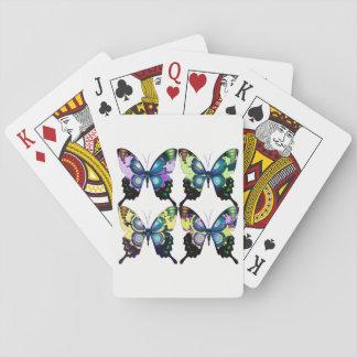 Aqua, rose, et jaune - papillons élégants jeu de cartes