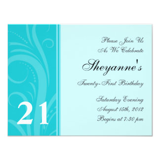 Aqua Teal Swirl 21st Birthday Party Invitation