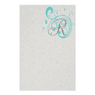 Aqua tourbillonnant motifs pour papier à lettre