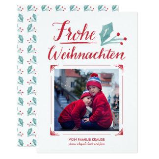 Aquarell et Kalligraphie | Frohe Weihnachten Carton D'invitation 12,7 Cm X 17,78 Cm