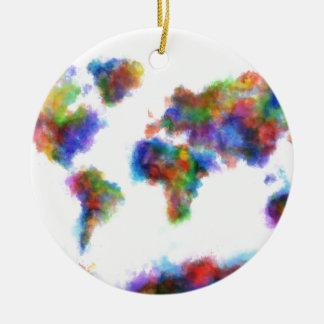 aquarelle 16 de carte du monde ornement rond en céramique