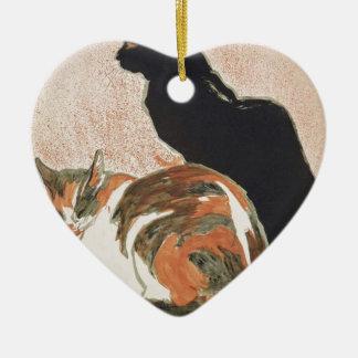 Aquarelle - 2 chats - Théophile Alexandre Steinlen Ornement Cœur En Céramique