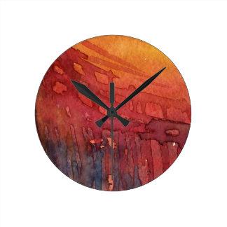Aquarelle abstraite 3 horloge ronde