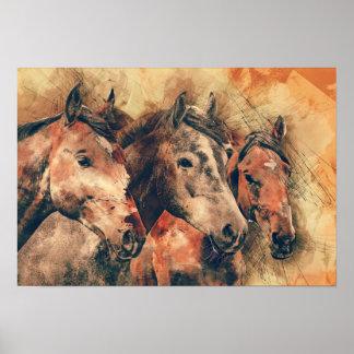 Aquarelle artistique de chevaux peignant poster