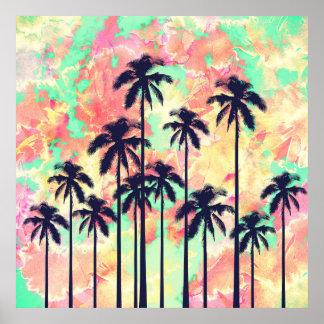 Aquarelle au néon colorée avec les palmiers noirs posters