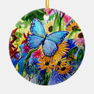 Aquarelle bleue de jardin de papillon ornement rond en céramique