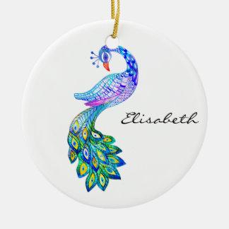 Aquarelle bleue de paon ornement rond en céramique