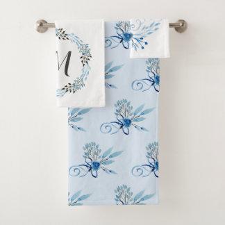 Aquarelle bleue de pays florale