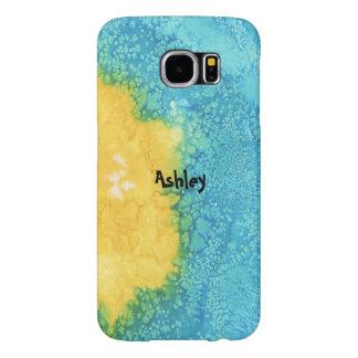 Aquarelle bleue/jaune