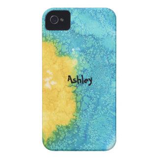 Aquarelle bleue/jaune coques iPhone 4