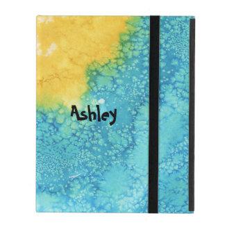 Aquarelle bleue/jaune étui iPad