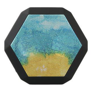 Aquarelle bleue/jaune haut-parleurs noirs sans-fils