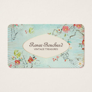 Aquarelle bleue vintage élégante florale cartes de visite