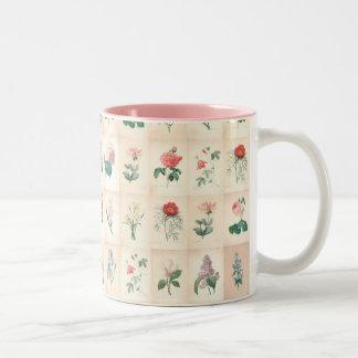 Aquarelle botanique vintage par Redoute - tasse