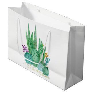 Aquarelle, cactus, succulents grand sac cadeau