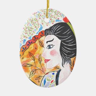 Aquarelle China, design original et artistique Ornement Ovale En Céramique