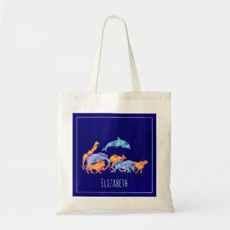 Aquarelle colorée de troupeau d'animal sauvage sac