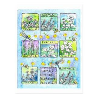 Aquarelle d'abeilles de miel de libellules de carte postale