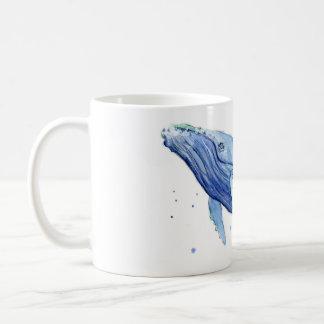 Aquarelle de baleine de bosse peignant la tasse en