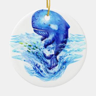Aquarelle de baleine ornement rond en céramique