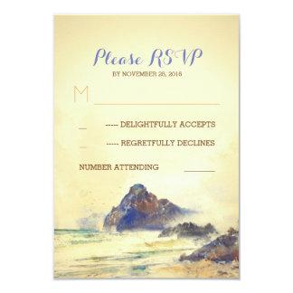 Aquarelle de bord de la mer peinte épouser RSVP Carton D'invitation 8,89 Cm X 12,70 Cm