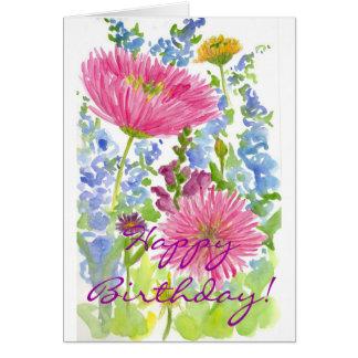 Aquarelle de bouquet de dahlia de rose de carte de