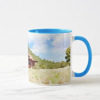 Aquarelle de cabines de vie à la campagne mug