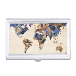 Aquarelle de carte du monde boîtiers pour cartes de visite