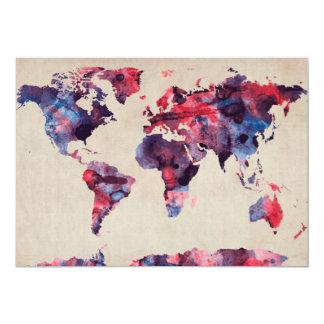 Aquarelle de carte du monde invitation personnalisable