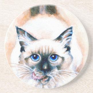 Aquarelle de chat siamois dessous de verres