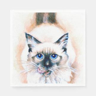 Aquarelle de chat siamois serviette en papier