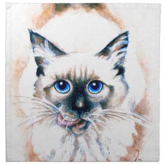 Aquarelle de chat siamois serviette imprimée