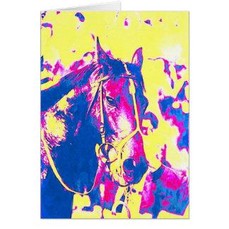 Aquarelle de cheval de course de pur sang de cartes