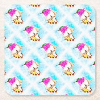 Aquarelle de colibri de côte dessous-de-verre carré en papier