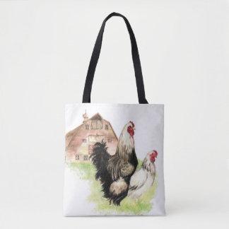 Aquarelle de coq et de poule de ferme de poulet tote bag